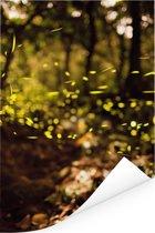 Actiefoto van bewegende vuurvliegjes in het bos Poster 120x180 cm - Foto print op Poster (wanddecoratie woonkamer / slaapkamer) XXL / Groot formaat!