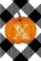 X: Cute Pumpkin Monogram Initial Letter X White Buffalo Plaid Check Personalized Gratitude Journal for Women and Girls