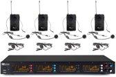 Draadloze  microfoon (headsets) - Power Dynamics PD504B draadloos microfoon systeem met 4