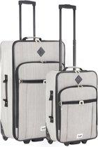 Travelz - Hipster - Kofferset 2 delig- koffers met 2 wielen - Grijs
