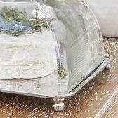 Loberon Glazen stolp - helder/zilverkleurig - met plateau