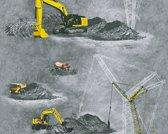 BOUWPLAATS VOERTUIGEN BEHANG - Grijs Geel Rood - AS Creation Little Stars
