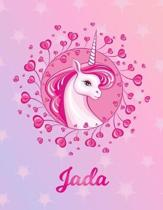 Jada: Jada Magical Unicorn Horse Large Blank Pre-K Primary Draw & Write Storybook Paper - Personalized Letter J Initial Cust