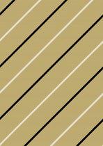 Inpakpapier met diagonaal zwarte en witte strepen - Toonbankrol breedte 50 cm - 100m lang - K40725-12-50-100Mtr