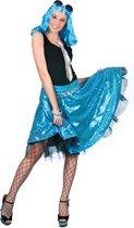 Blauwe disco rok met lovertjes voor vrouwen - Volwassenen kostuums