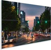 Drukke straat in het centrum van het Zuid-Koreaanse Gwangju Plexiglas 180x120 cm - Foto print op Glas (Plexiglas wanddecoratie) XXL / Groot formaat!