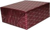 Inpakpapier/cadeaupapier bordeauxrood/gouden geometrische driehoek print 150 x 70 cm - Cadeauverpakking kadopapier