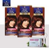 Schwarzkopf Poly Color Creme Haarverf - 71 Mahonie - 3 Pack Voordeelverpakking - Gratis Haarloop