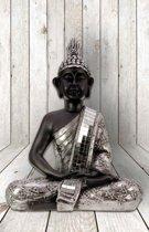 Buddha - Zwart/ zilver - 39 cm