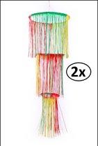 2x Hangdecoratie rood/geel/groen brandvertragend