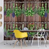 Fotobehang Vintage Chic Wood Planks And Herbs | V8 - 368cm x 254cm | 130gr/m2 Vlies