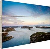 Noordzee zonsondergang Hout 80x60 cm - Foto print op Hout (Wanddecoratie)