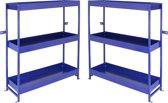 Bedrijfswagen interieur Set van 2 - Bestelbus Opslag Stelling Kast Bedrijfswageninrichting - Metaal - Blauw