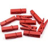 Mini Wasknijpers - Hout - Rood - 3 cm - 100 stuks