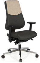 hjh office Pro-Tec 600 - Bureaustoel - Stof -Donkergrijs / beige