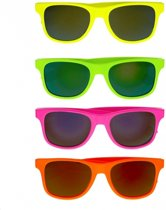 Gekleurde retro zonnebril  Fluoriserend oranje