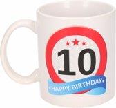 Verjaardag 10 jaar verkeersbord mok / beker