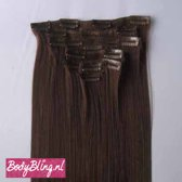 Clip in hair extensions 7 set straight bruin - 4#