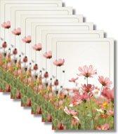 6x dubbele wenskaart met envelop - Blanco - Bloemen - 11,5 x 17 cm
