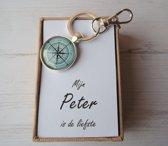 Mijn peter is de liefste, cadeaubox sleutelhanger kompas, uniek geschenk van uw petekind.