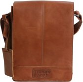 Leather Junky schouder tas - The Dealer Bag Small - Bruin/Tan - Leer