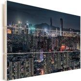 Nachtfoto van Shenzhen Vurenhout met planken 30x20 cm - klein - Foto print op Hout (Wanddecoratie)