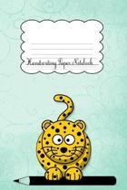 Handwriting Paper Notebook: Leopard Blue Cover - Handwriting Practice Notebook - Kindergarten - Preschool - Key Stage 1- Longhand - Joined-up writ
