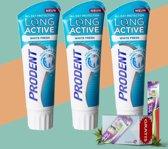 Prodent Long active White Fresh Tandpasta - 3 Pack Voordeel + Gratis Colgate Zig Zag Tandenborstel