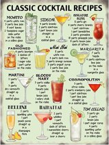 Grote muurplaat Cocktail Recipes 30x40cm