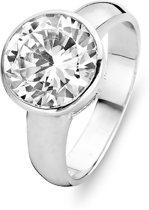 Silventi 943282834 58 Zilveren Ring - met ronde Zirkonia - 10 mm - Zilverkleurig