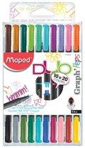 Graph'Peps Duo fijnschrijvers 10 Duo=20 kleuren - assorti kleuren