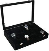 Sieraden display met 12 vakken voor armbanden of horloges met glazen deksel - zwart - sieraden doos + Gratis cadeau van het merk Fliex!
