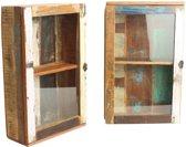 One World Interiors Scrapwood Kastje - Medicijn kastje - 38x15x60 cm