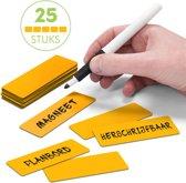 25 Whiteboard Magneten Balk 7,5 x 2,5 cm Oranje - Herschrijfbaar