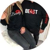 Setje hoodies beauty en beast met datum set van 2 hoodies
