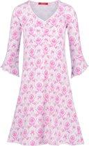 Exclusief Luxueus Kinder nachtkleding Luxe mooi zacht roze Girly Nachthemd van Hanssop met verfijnde rand details en luxe mouw verwerking, Meisjes nachthemd, roze bloem print, maat 140