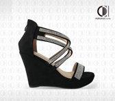 Sandalen op Sleehak - Sonrisa - Dames - Maat 38 - YD-9988-9 BLACK