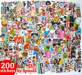 200 Stickers voor skateboard, snowboard, laptop, Macbook, smartphone, iPad, bumper, fiets en koffer - Hoogwaardige kwaliteit PVC sticker - water- en UV-bestendig - Retro style - King Mungo - KMST001