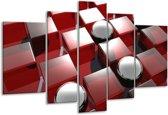 Glasschilderij Modern | Rood, Grijs, Zwart | 170x100cm 5Luik | Foto print op Glas |  F004354