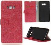 GSMWise - Samsung Galaxy S8 Plus - Denim Design Linnen Textuur Lederen Portemonnee Hoesje met Kaarthouder - Rood