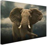 FotoCadeau.nl - Afrikaanse olifant donkere wolken Canvas 120x80 cm - Foto print op Canvas schilderij (Wanddecoratie)