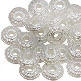Acryl Pearlshine Kralen Discus(12 x 4 mm) White (25 stuks)