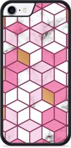 iPhone 7 Hardcase hoesje Pink-gold-white Marble