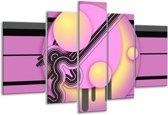 Glasschilderij Art | Paars, Zwart, Geel | 170x100cm 5Luik | Foto print op Glas |  F005566