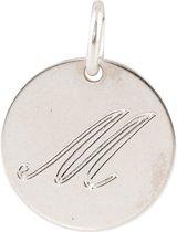 Lovenotes - Zilveren Hanger incl. collier Rond plaatje gravure letter M (14mm)