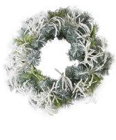 Riviera Maison - A Frosty Snow Wreath 100cm - Krans - Groen; Wit; - Plastic; Vezel; tak; Ijzerdraad
