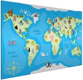 Kinderwereldkaart op aluminium dieren muur kinderkamer 80x60 cm   Wereldkaart Wanddecoratie Aluminium