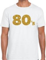 80's goud glitter tekst t-shirt wit heren - Jaren 80/ Eighties kleding L