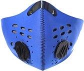 Stofvrij Masker Voor Op De Fiets Of Motor - Ademend Ventielmasker - Fijnstof Mondkapje – Motor Masker – Ski Masker - Blauw