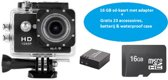 Lipa AT-62 Full HD action camera + Goodram 16 GB SD-kaart + 32 mounts+ waterproof case+ 12 MP + Wifi phone remote